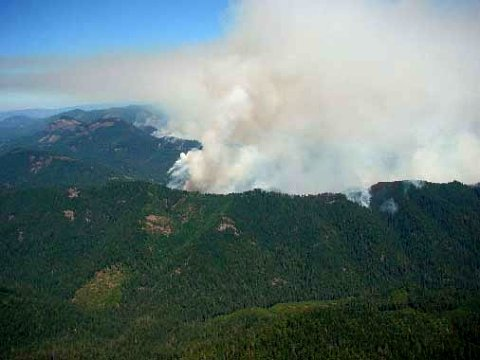 Tiller region aerial of the fire zone