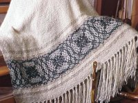 a custom designed natural color mohair throw
