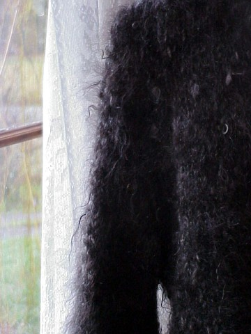 hand knitted natural black mohair sweater